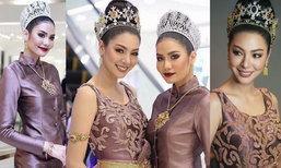 น้ำตาล ชลิตา - ฝ้าย สุภาพร 2 นางงามหน้าคม ในชุดไทยสวยสง่า จนละสายตาไม่ได้