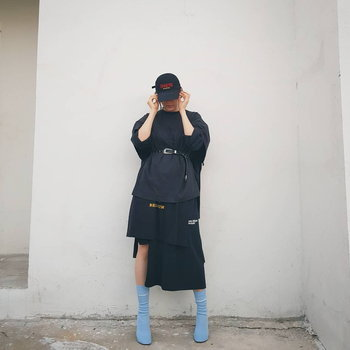 แฟชั่น VETEMENTS - Blue Stretch-jersey Ankle Boots