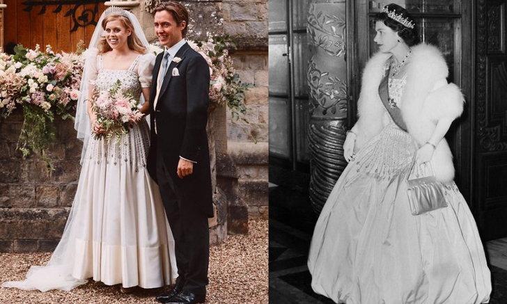 """เจ้าหญิงเบียทริซ กับฉลองพระองค์แต่งงาน """"เดรสวินเทจของควีนเอลิซาเบธที่ 2"""""""