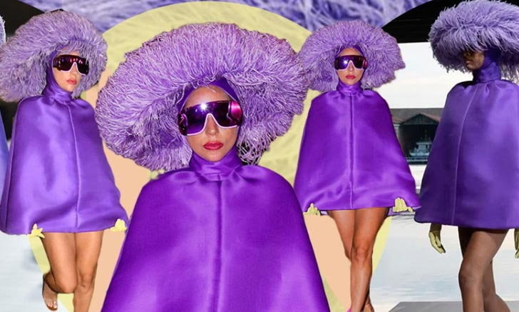 ฮาวทูใส่ชุดม่วงหมวกขนนก Valentino Couture แบบฉบับ Lady Gaga