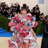 Rihanna in a Comme des Garçons dress and Rihanna Loves Chopard jewellry