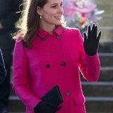 เจ้าหญิงเคทกับเสื้อโค้ทสีชมพู ของแบรนด์ Mulberry เมื่อวันที่ 16 ม.ค. ที่ผ่านมา
