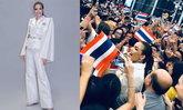 """""""ฟ้าใส ปวีณสุดา"""" สวยสง่า ในชุดแบรนด์ Sirivannavari พร้อมชิงมง Miss Universe 2019"""