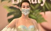 """""""มิ้นต์ ชาลิดา"""" อลังการในงานเปิดตัว หน้ากากอนามัยเพชร 100 ล้านบาท"""