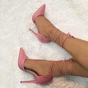 แฟชั่นรองเท้าส้นสูงแบบผูกเชือก