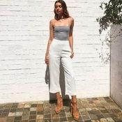 กางเกงขากระบอกสีขาว