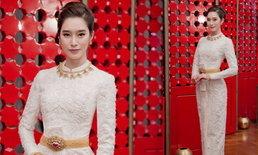 ฐิสา วริฏฐิสา สวยสง่าในชุดไทยบรมพิมานปักมือทั้งชุด ราคาหลักแสน