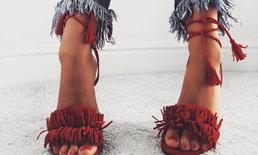 แฟชั่นรองเท้าส้นสูงแบบผูกเชือก ทำให้เท้าดูเรียวสวยขึ้น