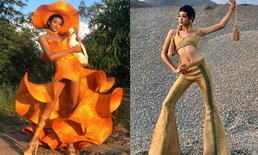 """""""กีกี้จูโน่ นางฟ้าบ้านนา"""" กับความปังของชุดจากของเหลือใช้ มองยังไงก็สวยแพง"""