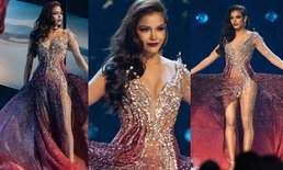 """""""ฟ้าใส ปวีณสุดา"""" พาชุดราตรีสีแดงเพลิงแบรนด์ไทย เข้ารอบ 5 คนสุดท้าย Miss Universe 2019"""