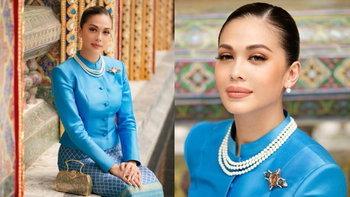 """""""แพร วทานิกา"""" ในชุดผ้าไหมไทยจิตรลดาสีฟ้า สุดสง่า"""