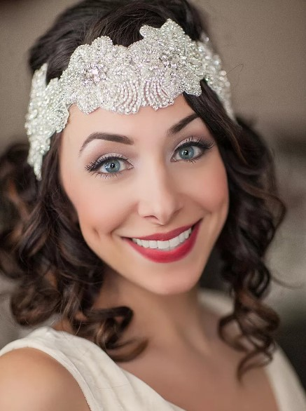Short wedding hairstyle with a glamorous beaded headband