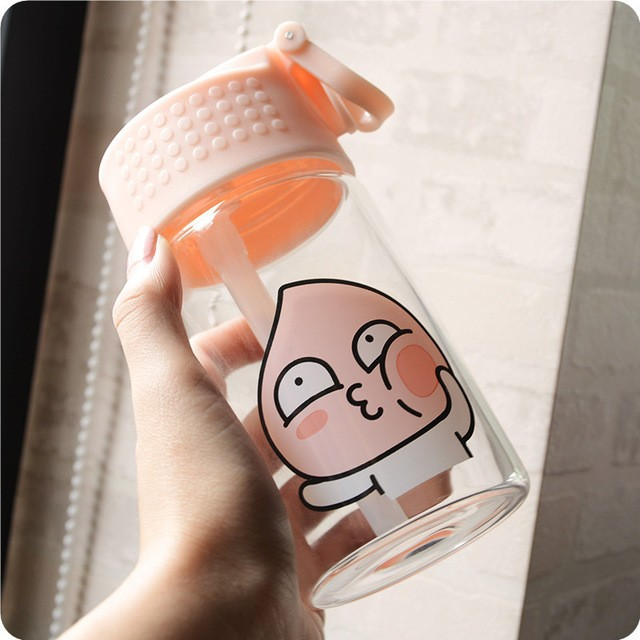 1530774705 15oz 450ml south korea ulzzang peach jun glass soft adorable cute cartoon leakproof with straw water.jpg 640x640
