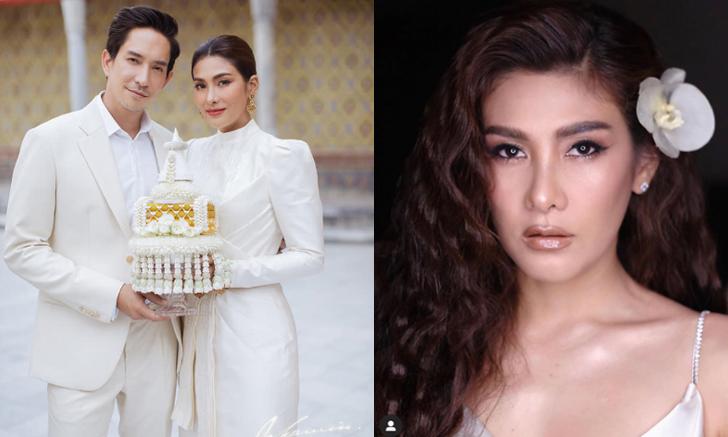 """ซูมชัดๆ """"นุ่น รมิดา"""" กับ 2 ชุดแต่งงานแบบไทยและสายฝอ ในงานแต่งงานสุดเรียบง่าย"""